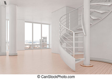 Bright loft with spiral stairs and hardwood floor