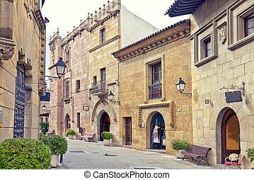 Spanish street - Poble Espanyol traditional architectural...