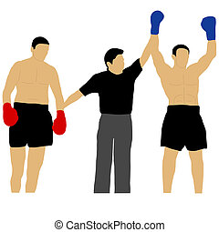 a referee gives the victory a boxer