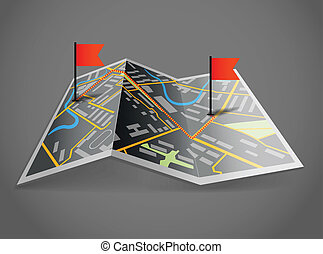 Folded abstract dark city map with flags