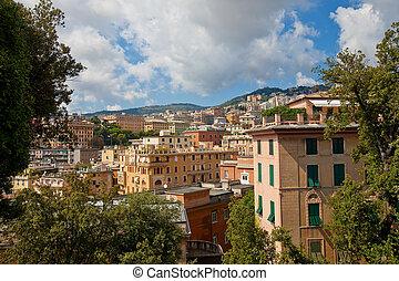 Summer view of Genoa city, Italy
