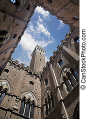 Palazzo Comunale Courtyard with Torre del Mangia in Siena -...