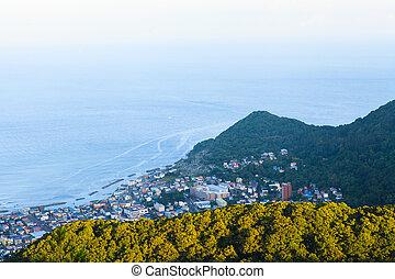 Hakodate Cityscape from Mt.Hakodate Hakodate, Japan. The...