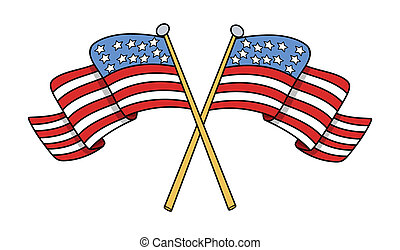 Crossed Flags of USA Vector - Drawing Art of Crossed Flags...