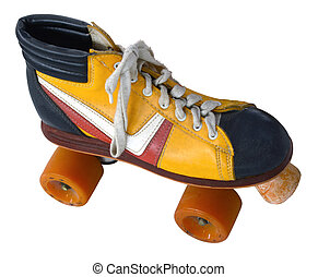 Retro Roller Skate - Isolation Of A Retro Vintage Four Wheel...