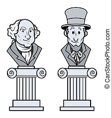 Sculpture of Lincoln and Washington - Sculpture of Abraham...
