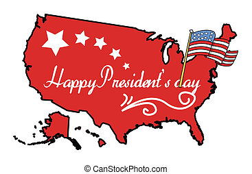 American Map with Presidents Day