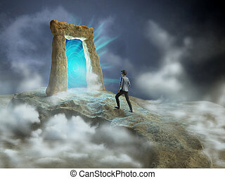 Dimensional gate - Ancient stone gate opening to another...