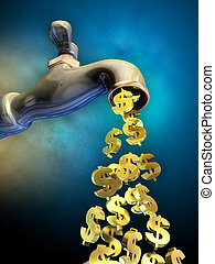Money flow - Dollar symbols flowing from an open faucet....