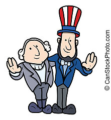 Presidents Day Cartoon Characters - Washington and Lincoln...