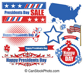 Presidents Day Vector Set - Drawing Art of Presidents Day...