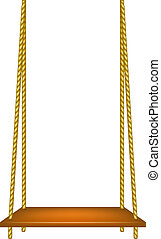 Wooden swing hanging on ropes on white background