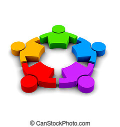 Strong People group of 5 persons 3D color  illustration
