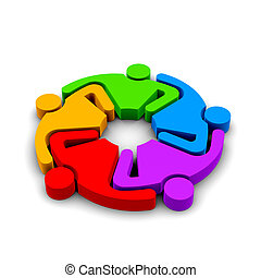 Teamwork Hugging , group of 5 persons , 3D color...