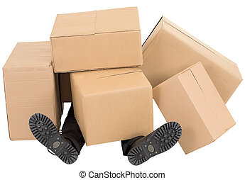 Male feet under a heap of boxes - Male feet under a heap of...