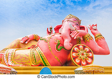 Pink ganesha in relaxing protrait on blue sky, Thailand