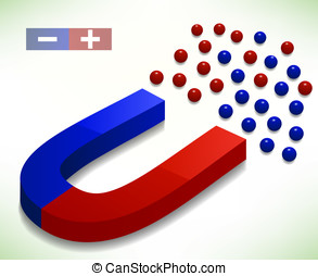 Red and Blue Horseshoe Magnet. Vector Illustration