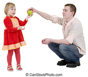 Man give apple to the girl