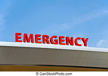 Hospital Emergency Sign - A Red Hospital Emergency Sign
