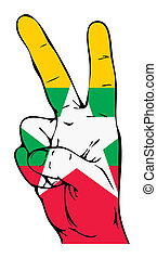 Peace Sign of the Myanmar flag
