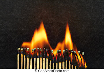 Burnout - A series of matches are next to each other, which...