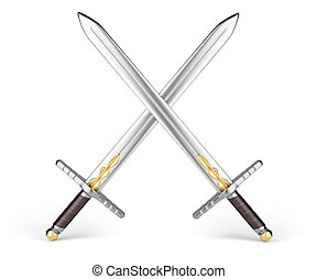 crossed swords isolated on white background.