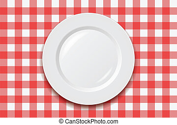 vector tablecloth and empty plate - vector red picnic...
