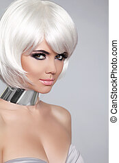 Fashion Beauty Portrait Woman. White Short Hair. Beautiful Girl's Face Close-up. Haircut. Hairstyle. Fringe. Make-up. Vogue Style. Isolated on Grey Background.