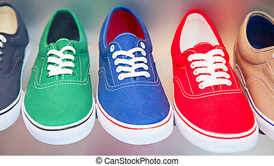 colorful shoes - variety of the colorful shoes in the shop