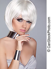 Fashion Beauty Portrait Woman. White Short Hair. Isolated on Grey Background. Beautiful Girl's Face Close-up. Haircut. Hairstyle. Fringe. Make-up. Vogue Style.