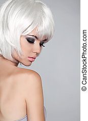 Fashion Beauty Portrait Woman. White Short Hair. Isolated on...