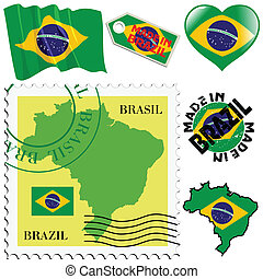 national colours of Brazil - set of different symbols in...