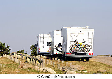motor home parked atop Mount Aigoual in the Cevennes...