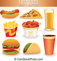 Fast Food Icons. Hot Dog, Pizza, Fries, Hamburger, Beef...