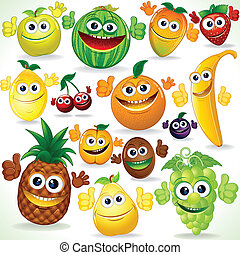 Funny Cartoon Fruits. Colorful Clip art - Various Funny...