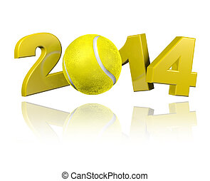 Tennis 2014 design with a White Background