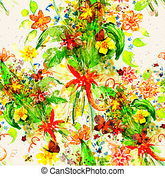 floral seamless texture of watercolor
