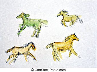 watercolor drawing of a horse