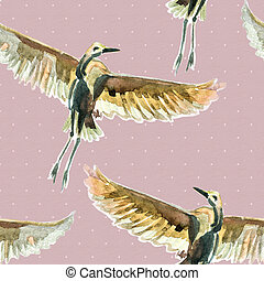Seamless texture with watercolor birds