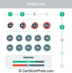 Flat UI design elements set - different progress bars Vector...