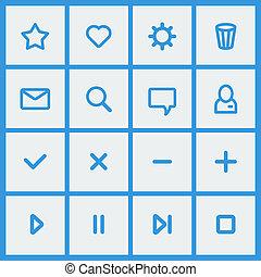Flat UI design elements - set of basic web icons