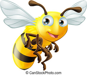 Cartoon Bee - An illustration of a cute cartoon bee