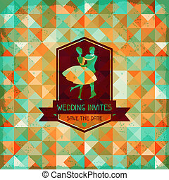 Wedding invitation card in retro style