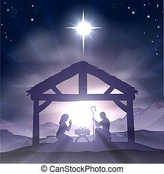 Natal, manjedoura, natividade, cena