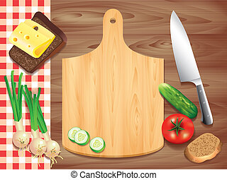 Cutting board on wooden table, food ingredients - Top view...