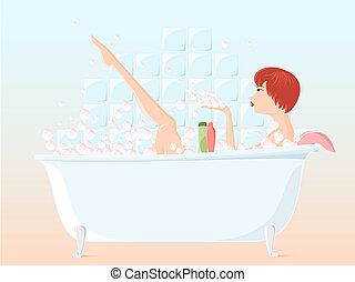 Girl taking bubble bath - Pretty young girl taking bubble...