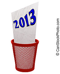 Old year 2013 in trash bin - concept isolated over white -...