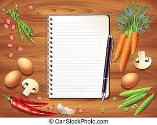 Recipe book on wooden kitchen table, food ingredients - Top...