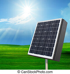 solarcell out door with with sun shining on blue sky for...