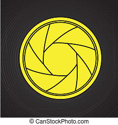 camera lens over black background, vector illustration